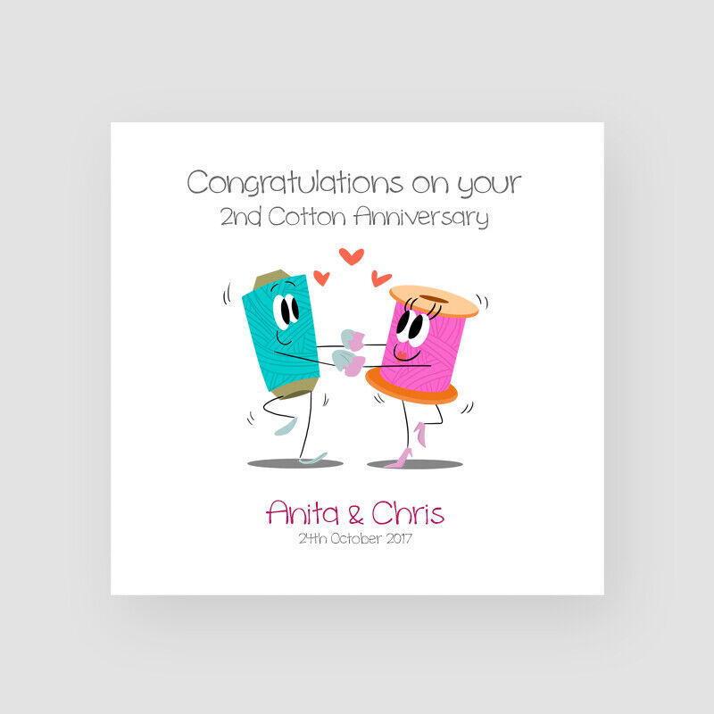 2nd Wedding Anniversary Gifts Uk: Personalised Handmade 2nd Cotton Wedding Anniversary Card