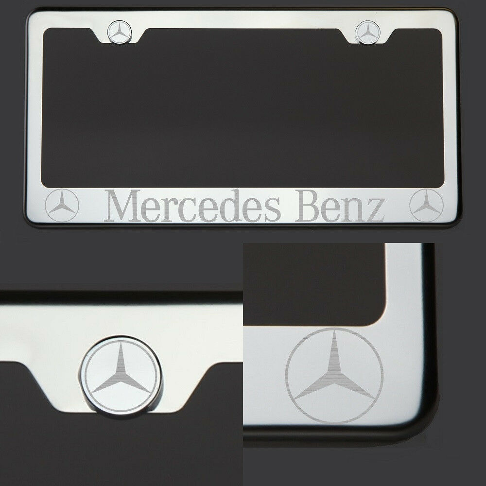 T304 chrome polished mercedes benz laser etched engraved for Mercedes benz license plate logo