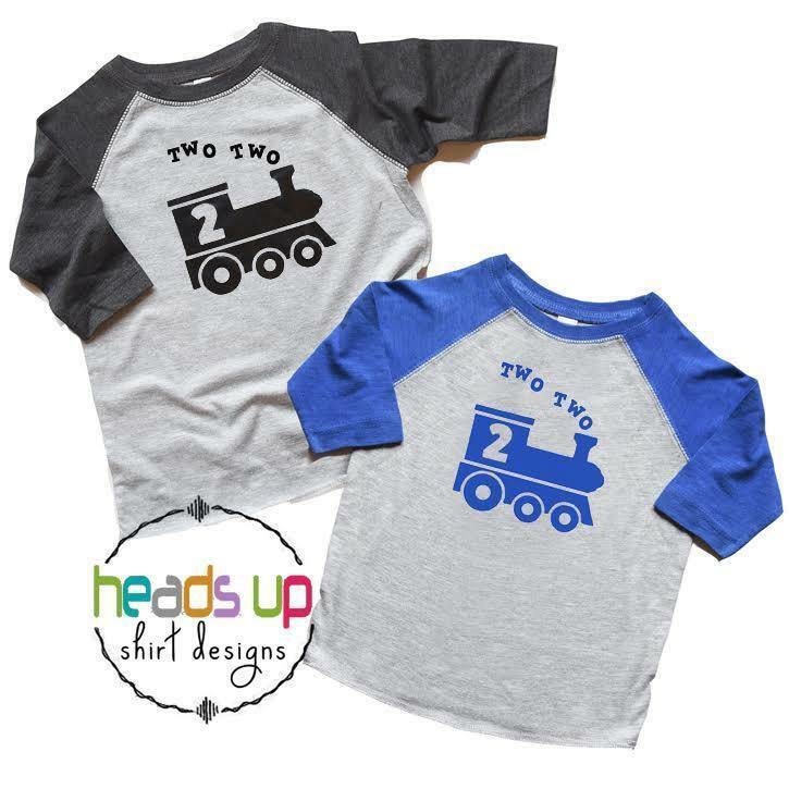 Details About Twin Boys Train 2nd Birthday Shirts Two Raglan T Toddler Tees Kids Gift