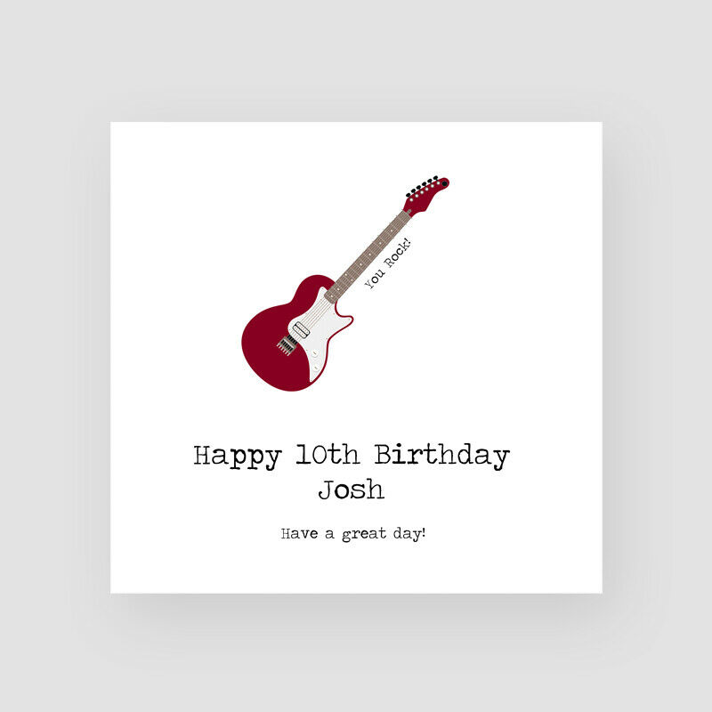 Details About Personalised Handmade Guitar Birthday Card