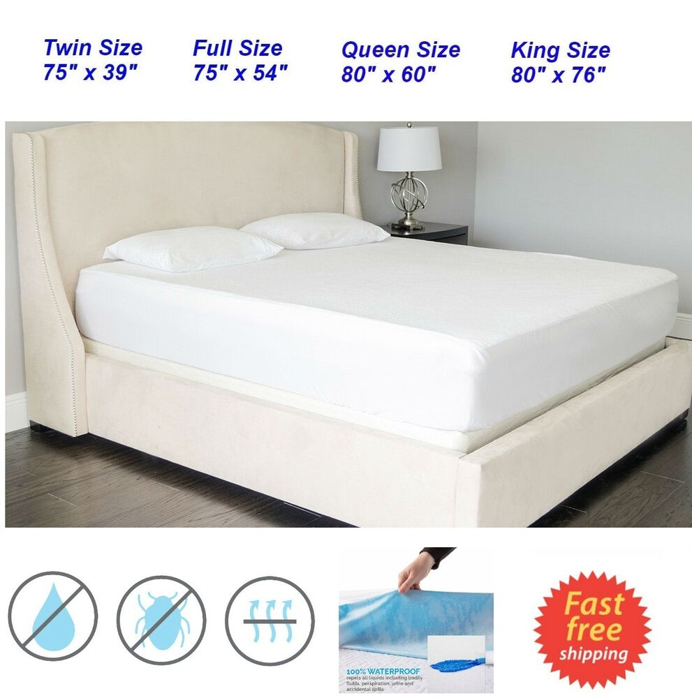 soft quiet waterproof mattress bed protector cover king. Black Bedroom Furniture Sets. Home Design Ideas