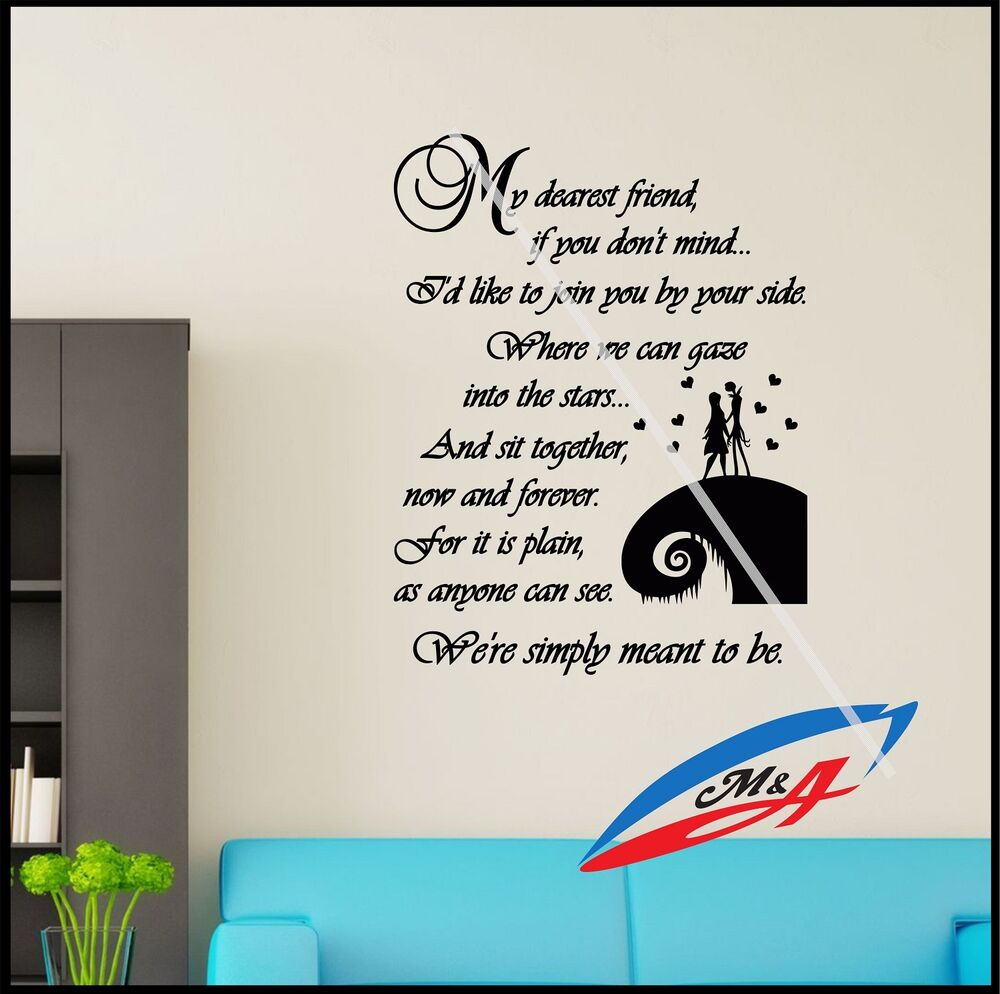Wall Decal Sticker Quotes Sally & Jack The Nightmare Before ...