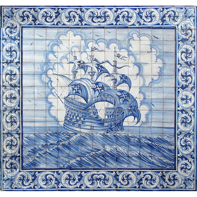 Portuguese Hand Painted Azulejos Tile Mural Panel Ages Of