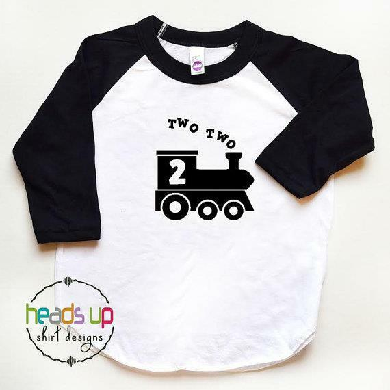 Details About 2nd Birthday Shirt Train Two Raglan Tshirt Boy Girl Second Bday Tee 2