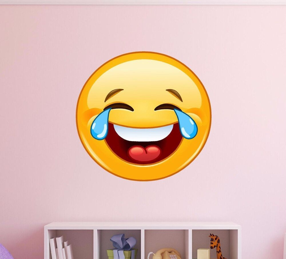 laughing emoji wall decal vinyl apple iphone funny icon. Black Bedroom Furniture Sets. Home Design Ideas