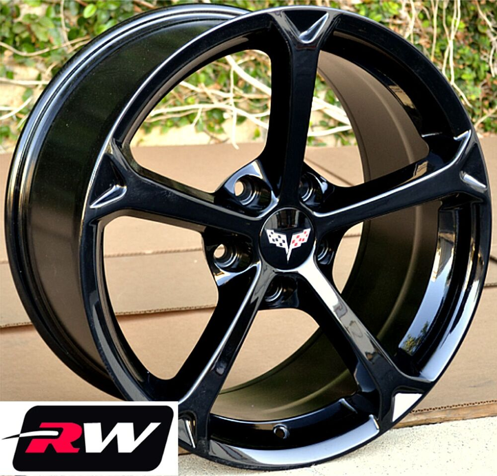 corvette wheels 2010 c6 grand sport gloss black rims 17 18 inch fit c5 1997 2004 ebay. Black Bedroom Furniture Sets. Home Design Ideas