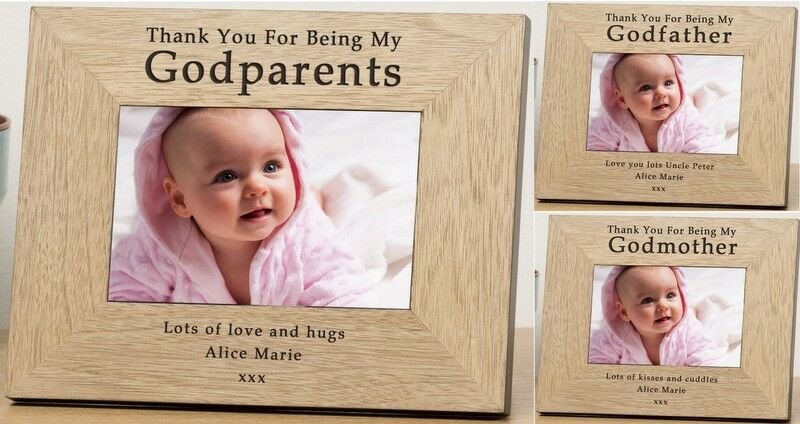 PERSONALISED Wooden PHOTO Frame For GODPARENTS Godmother Godfather ...