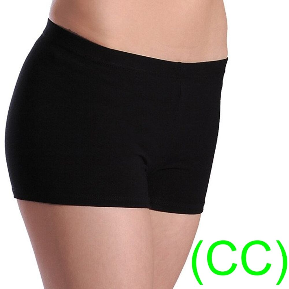 BLACK DANCE SHORTS Hot Lycra Dance Gym Leggings Leotards