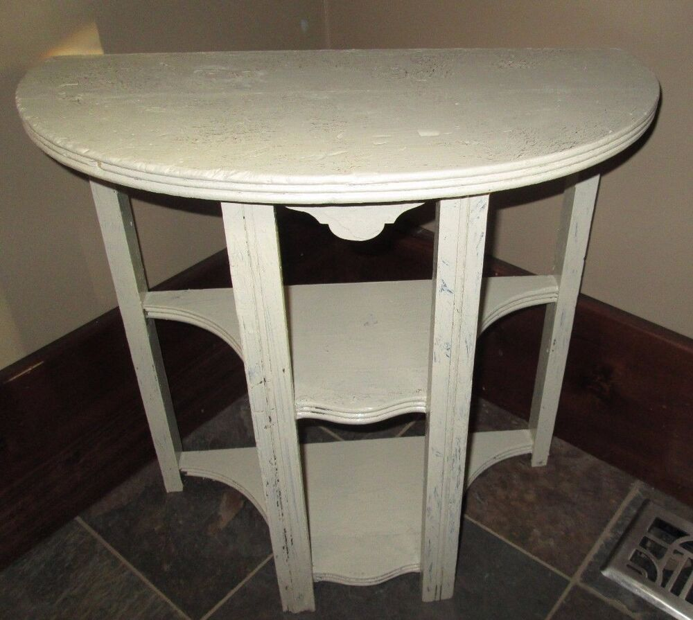 vintage antique half moon wood side end table painted chic shabby white shelves ebay. Black Bedroom Furniture Sets. Home Design Ideas