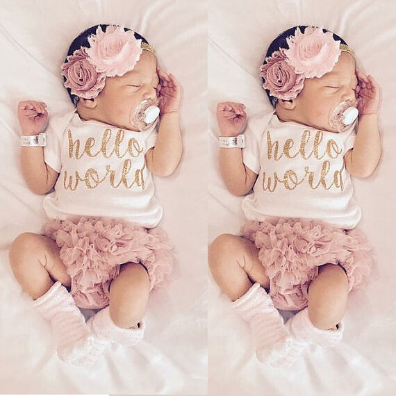 Newborn Baby Girls Outfit Clothes Romper Jumpsuit Bodysuit+Lace Pants UK Stock | eBay
