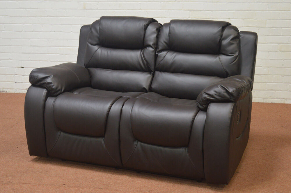 CLEARANCE - VANCOUVER 2 SEATER BROWN LEATHER RECLINER SOFA ...