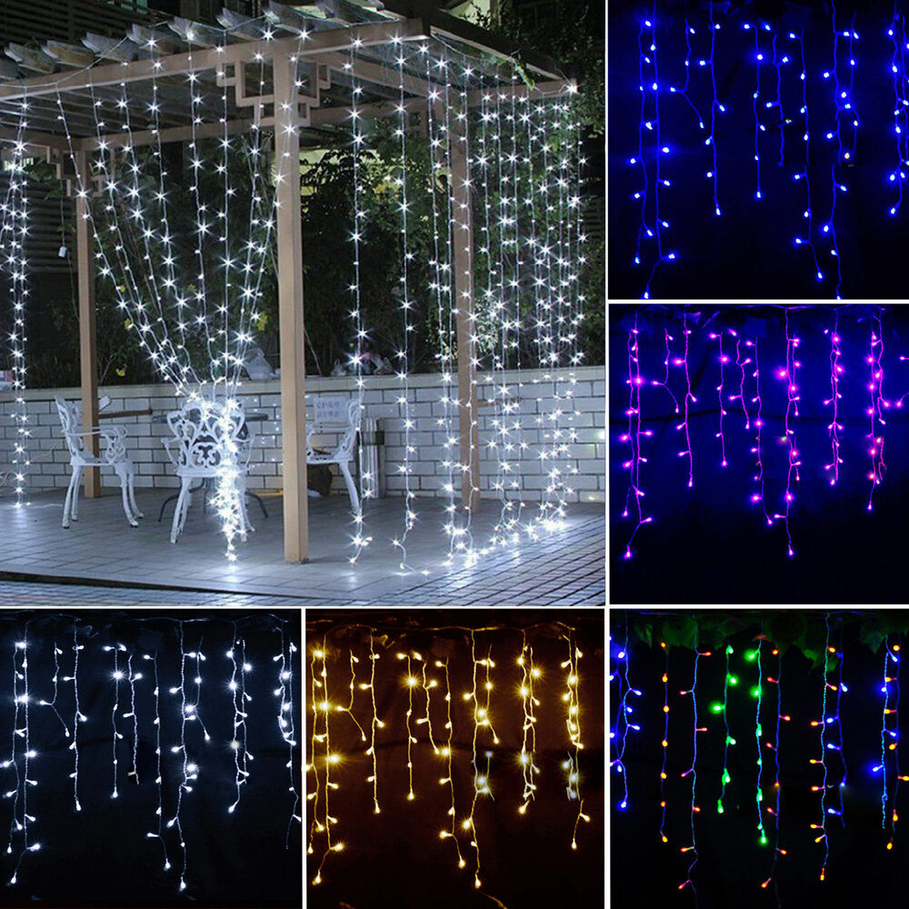 icicle hanging snowing curtain fairy string lights. Black Bedroom Furniture Sets. Home Design Ideas
