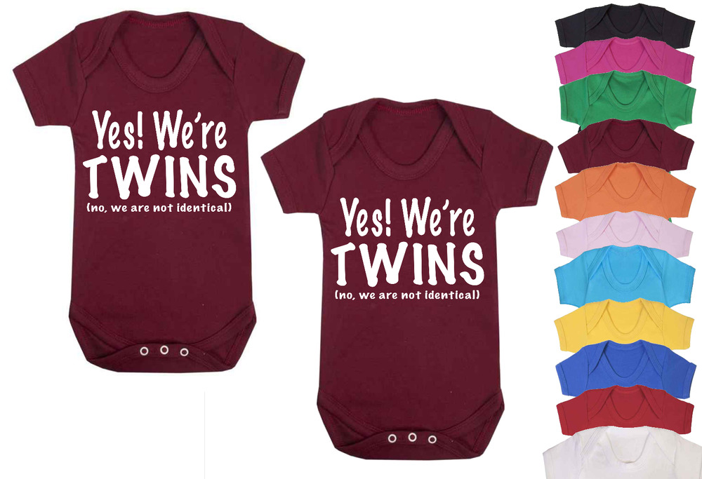 85bcdaf7354 No we aren t Identical Novelty Twins Baby Vests Babygrow Baby Twin Gifts  Set