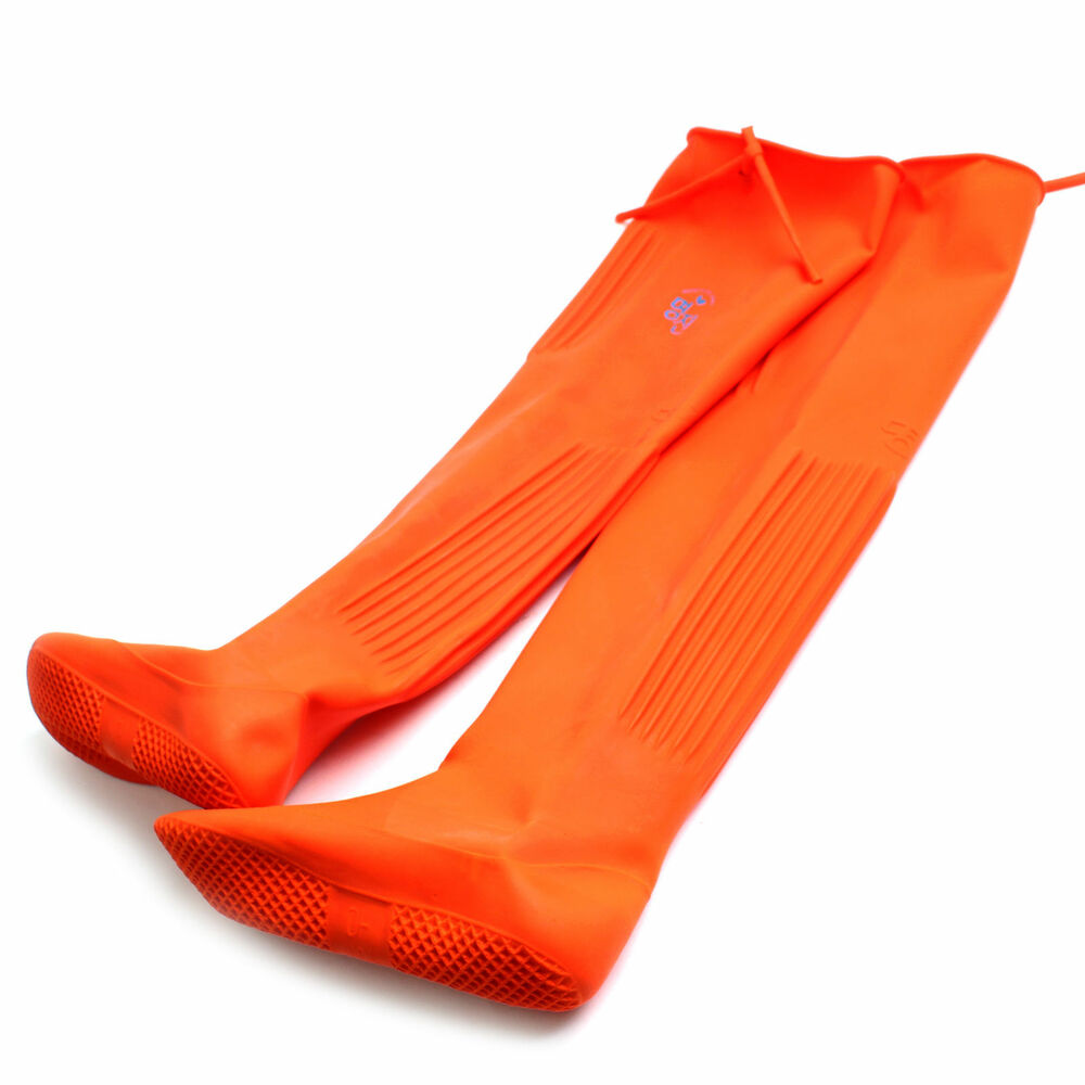 Long natural rubber boots for farming fishing knee high for Rubber fishing boots