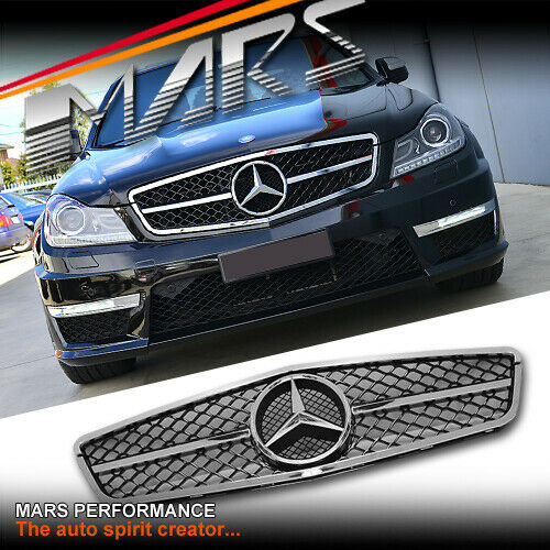 Chrome black c63 amg style grill for mercedes benz c204 for Mercedes benz grille