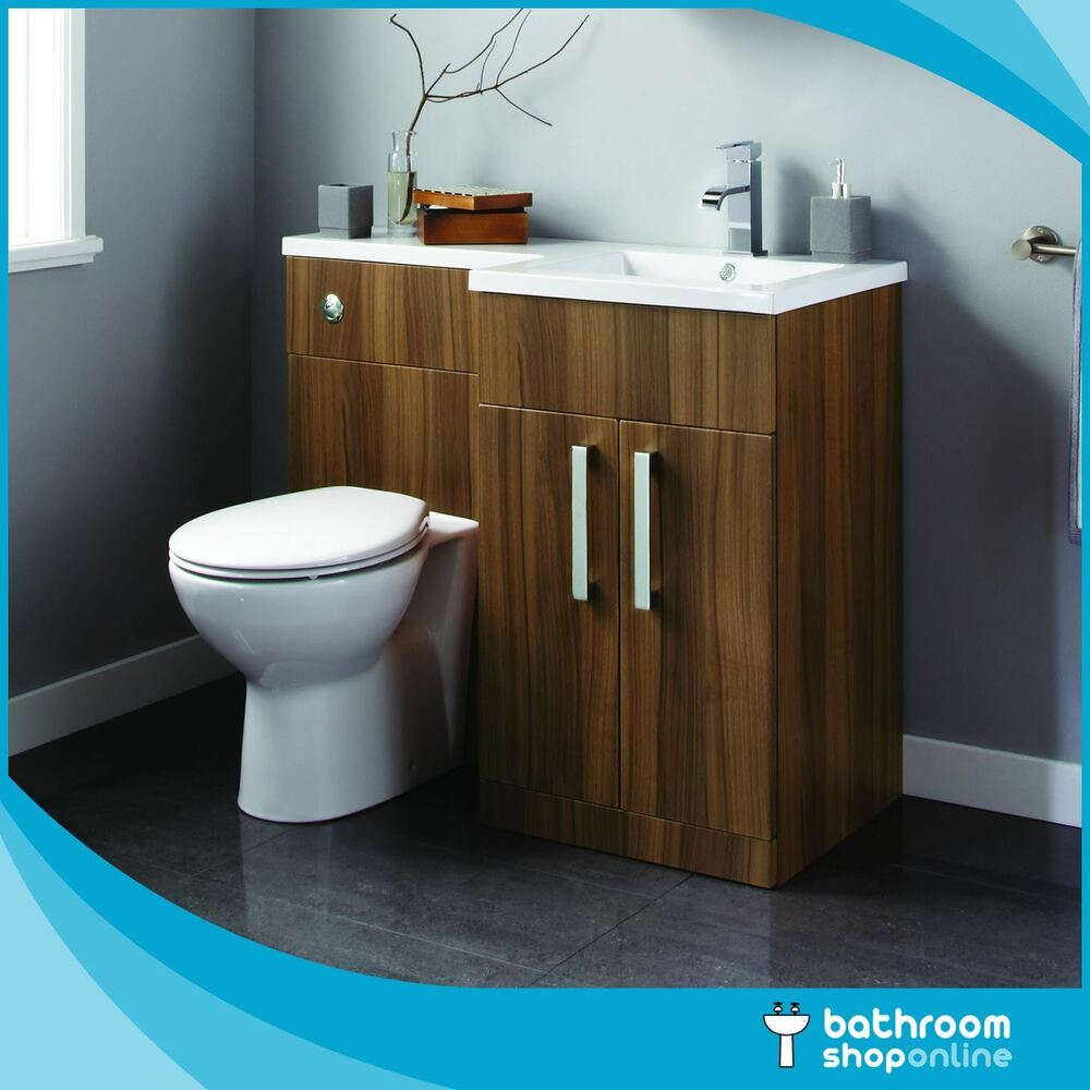 Walnut L Shape Bathroom Furniture BTW Toilet Left/Right Hand Vanity ...