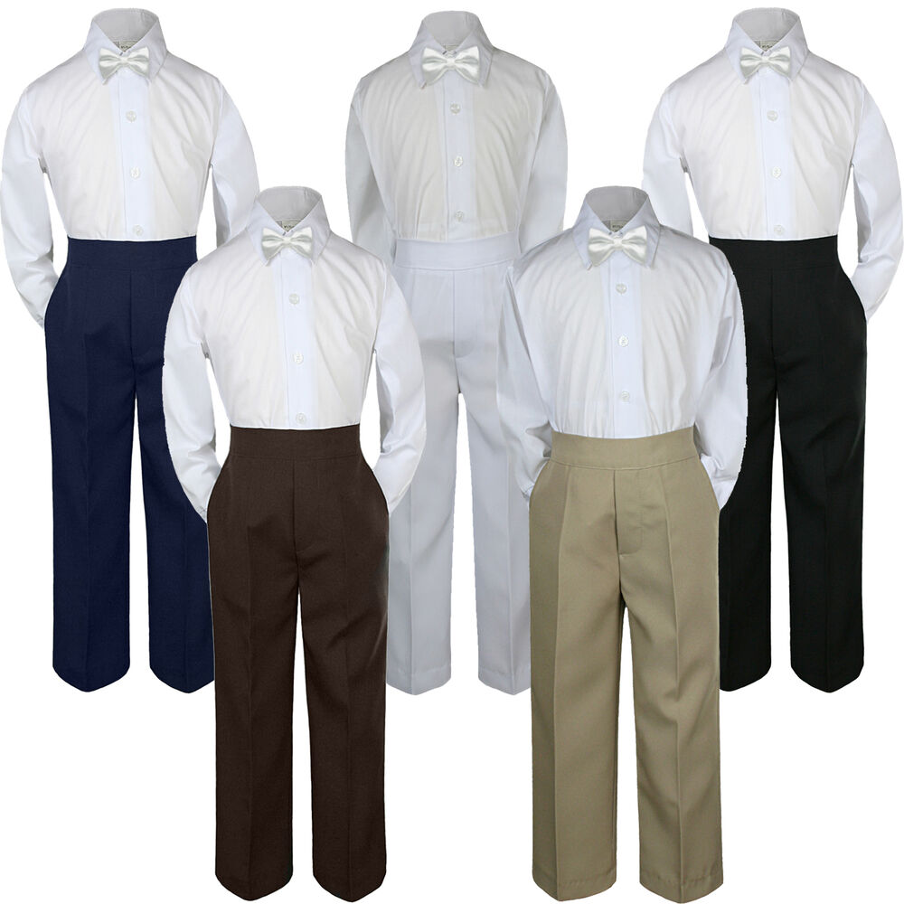 a779738cf Details about 3pc Boy Suit Set White Bow Tie Baby Toddler Kid Formal Shirt  Pants S-7 Wedding