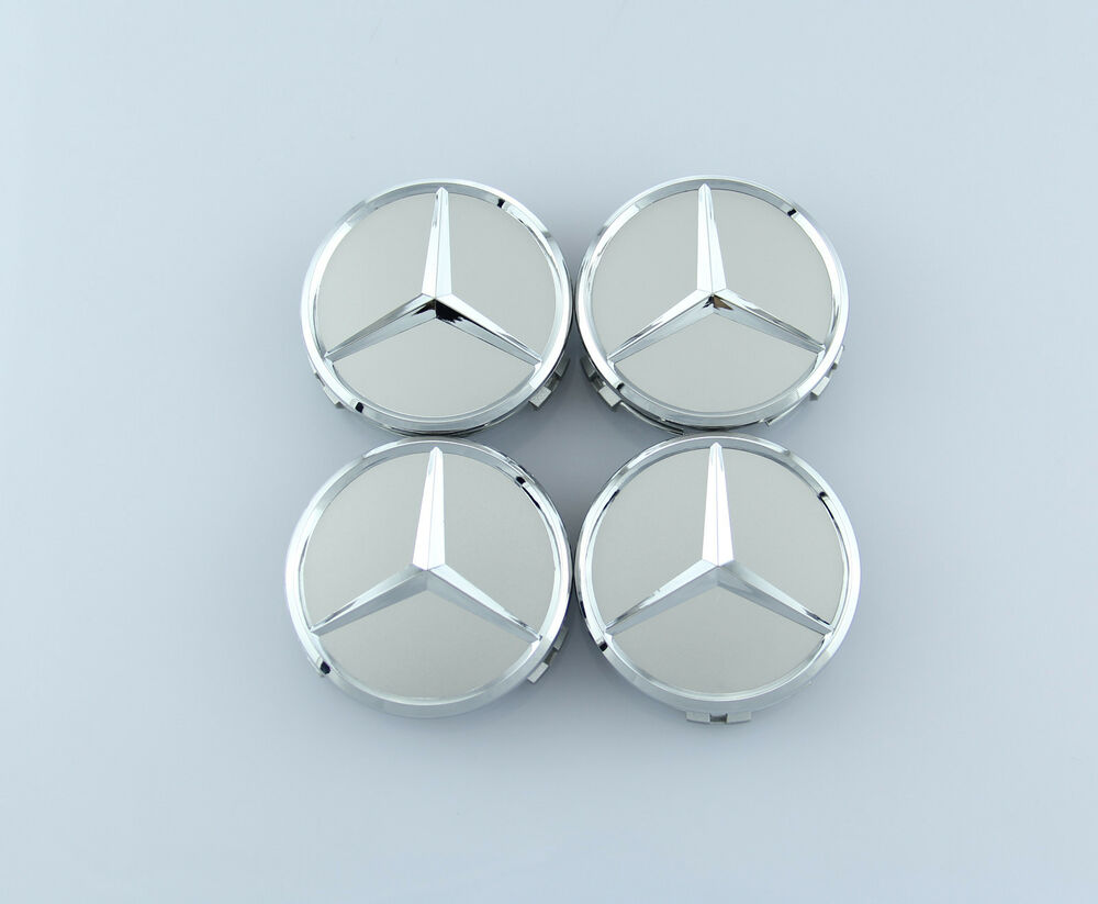 4 pcs set mercedes benz wheel center caps emblem silver for Mercedes benz wheel cap emblem