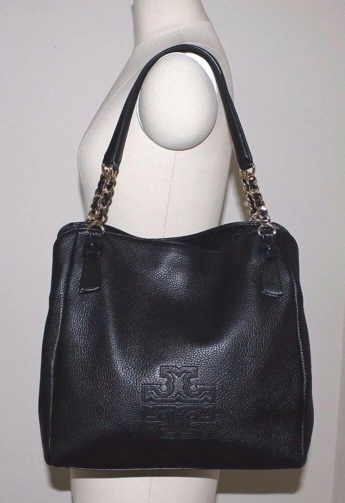 Tory Burch Harper Leather Tote Black shoulder Bag Handbag ...