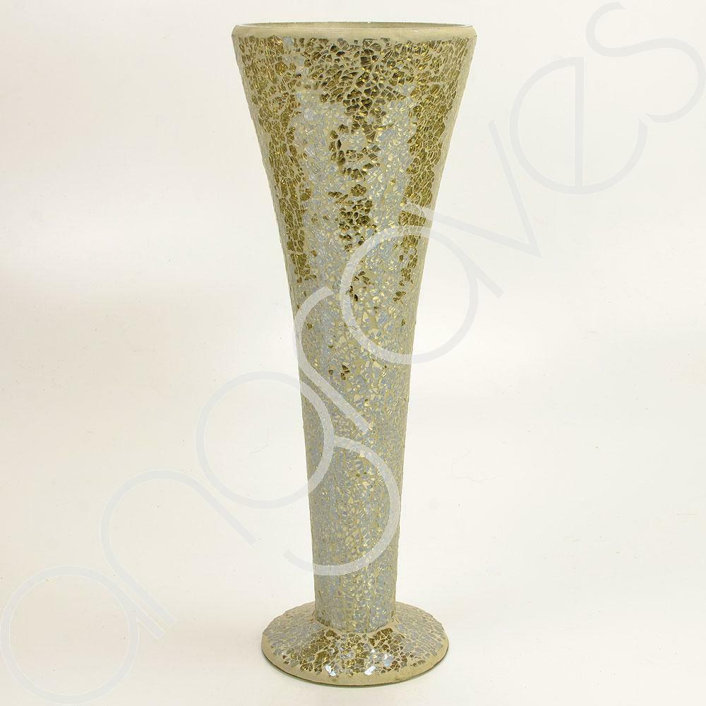 40cm gold sparkle mosaic trumpet vase tall big home decor for Decoration vase