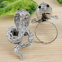 Punk Tibetan Silver Plated Crystal Snake Cobra Finger Cocktail Ring Adjustable