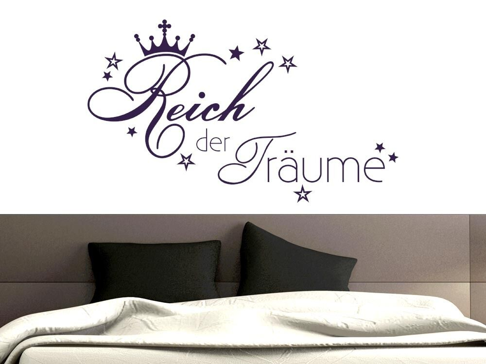 wandtattoo wandaufkleber f r schlafzimmer spruch reich der tr ume stern krone ebay. Black Bedroom Furniture Sets. Home Design Ideas