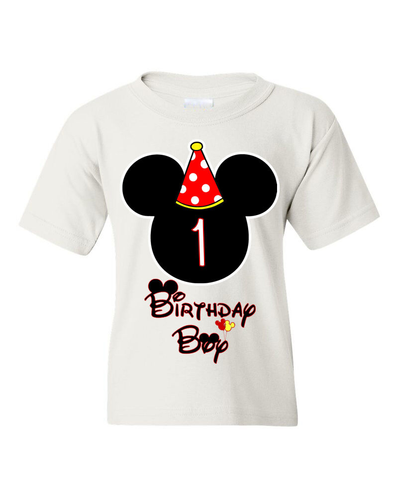 Details About Birthday Boy Kids T Shirt Mickey Mouse Customized With Any Age