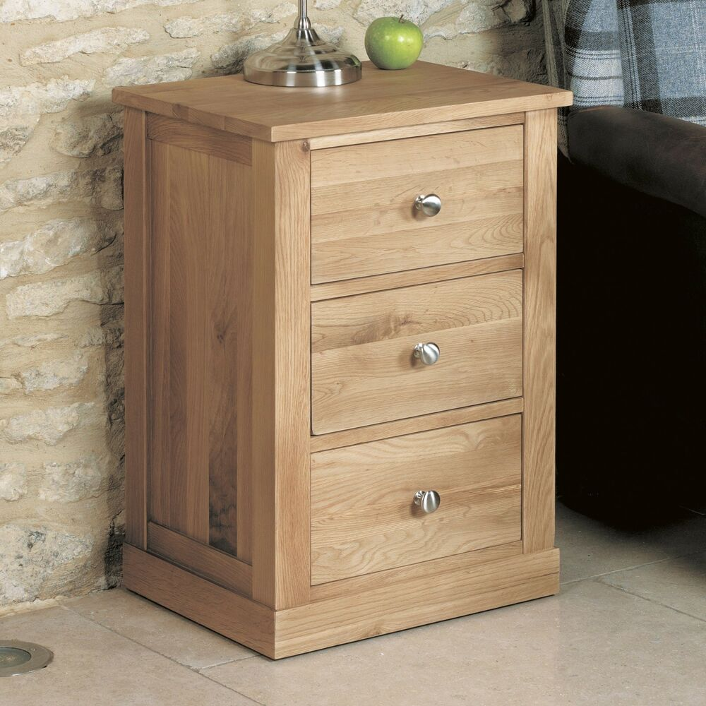details about mobel oak side table 3 drawer