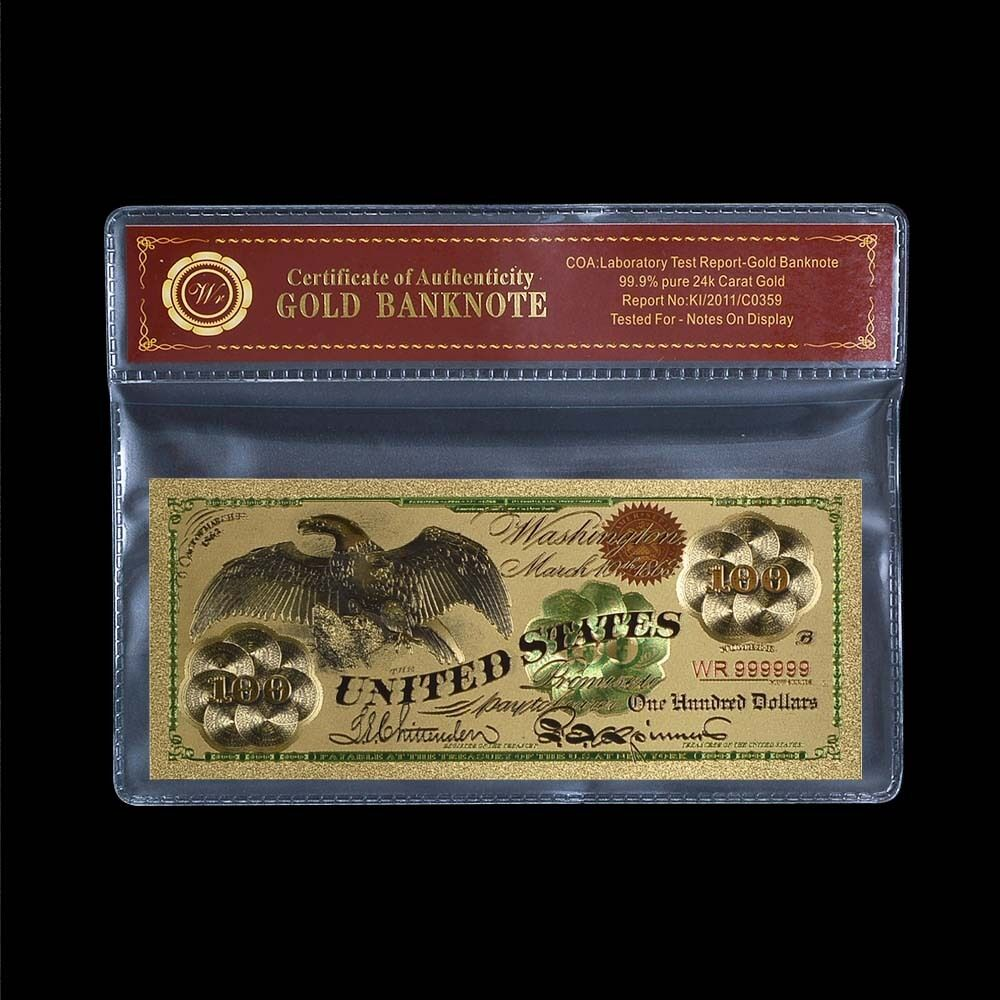 wr gold 1863 100 bill us banknote eagle dollar in pvc