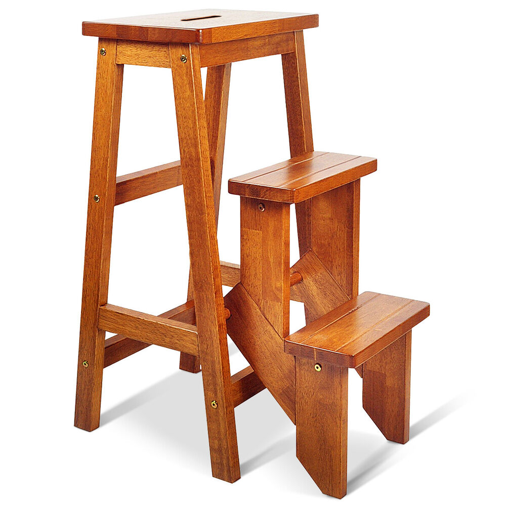 Wood Step Stool Folding 3 Tier Ladder Chair Bench Seat