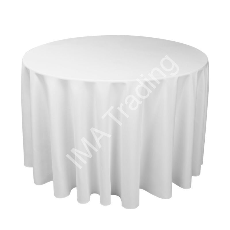 Ordinaire WHITE ROUND TABLE CLOTH 305cm, 120 Inch, 220GSM SPUN POLYESTER TABLE CLOTH
