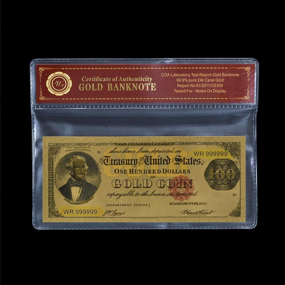 WR 1882 $100 Gold Certificate US Old Dollar Gold Banknote