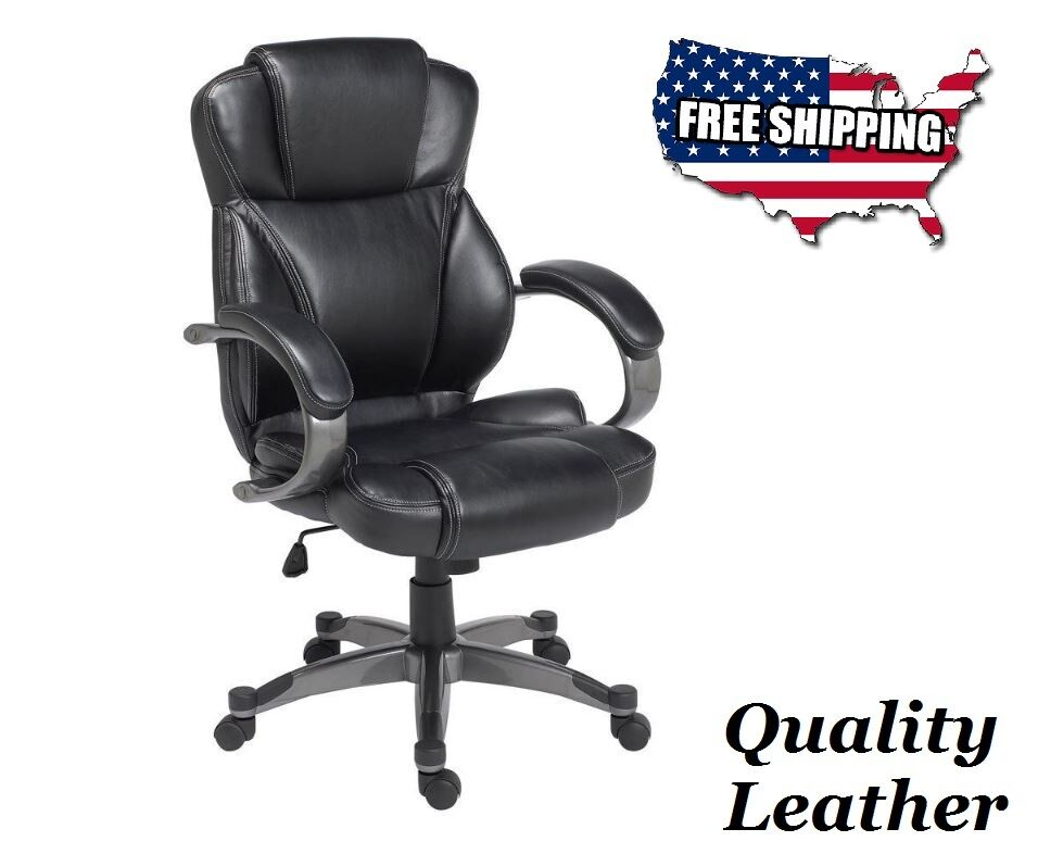 Luxurious Genuine Black Leather Executive Office Chair