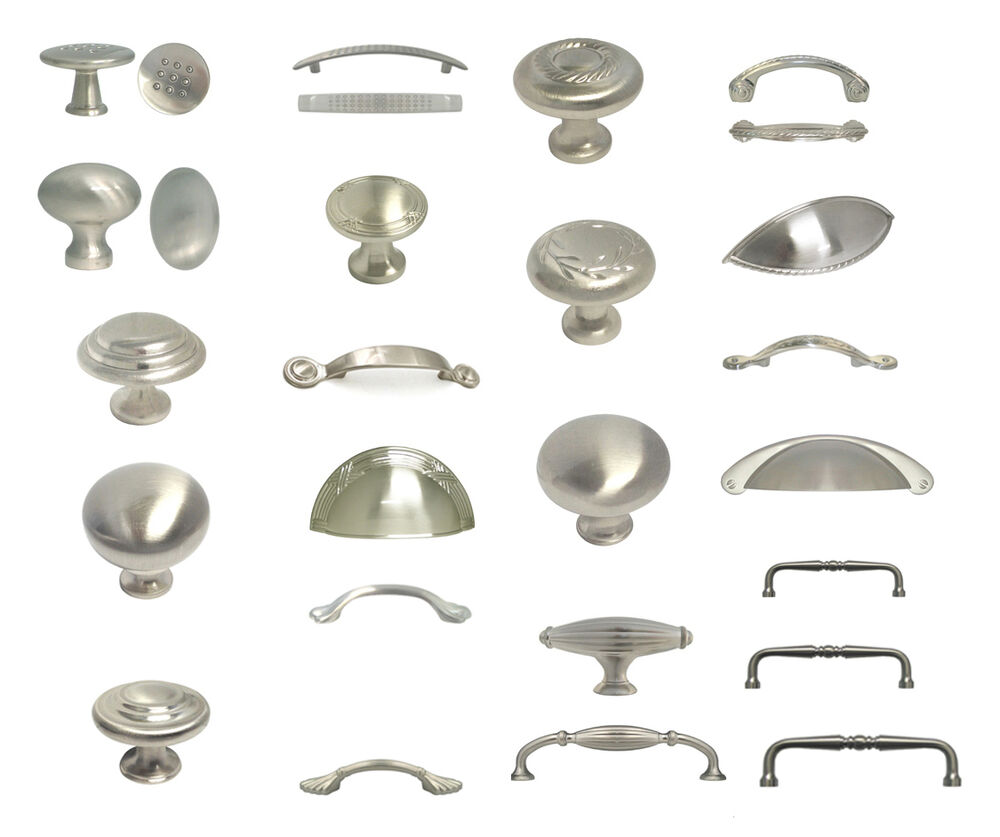 Kitchen Cabinet Knobs Or Pulls: Brushed Satin Nickel Knobs Pulls Kitchen Cabinet Handles