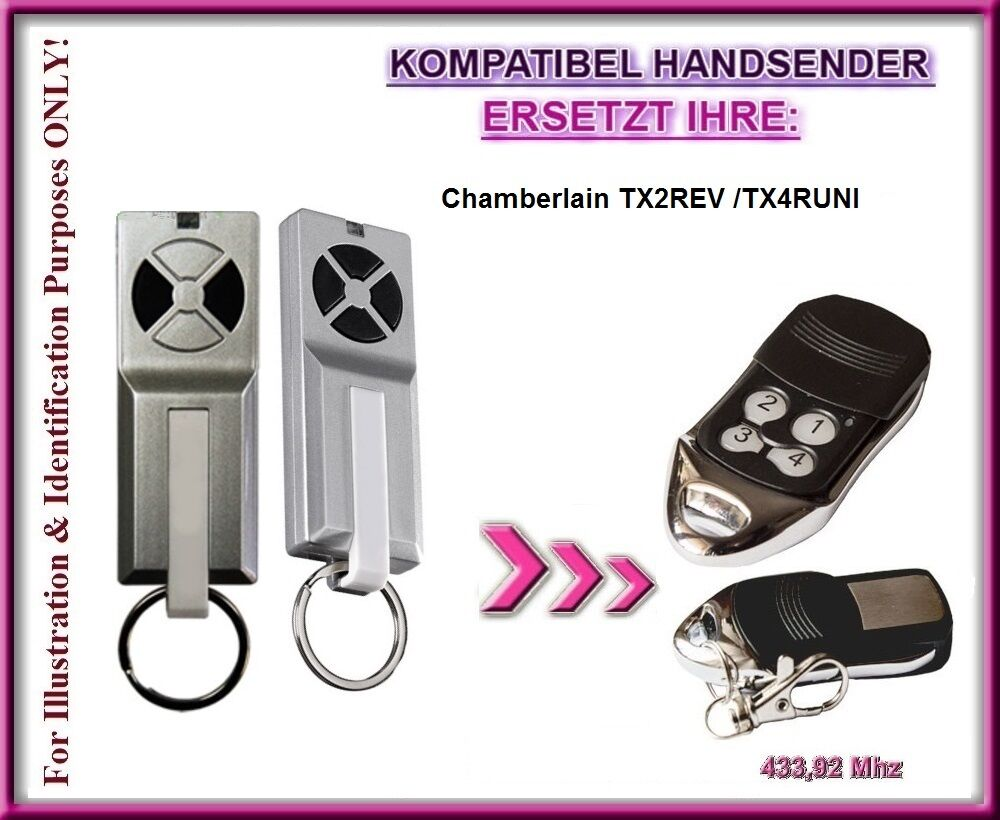 chamberlain tx2rev tx4runi kompatibel handsender ersatz fernbedienung ebay. Black Bedroom Furniture Sets. Home Design Ideas