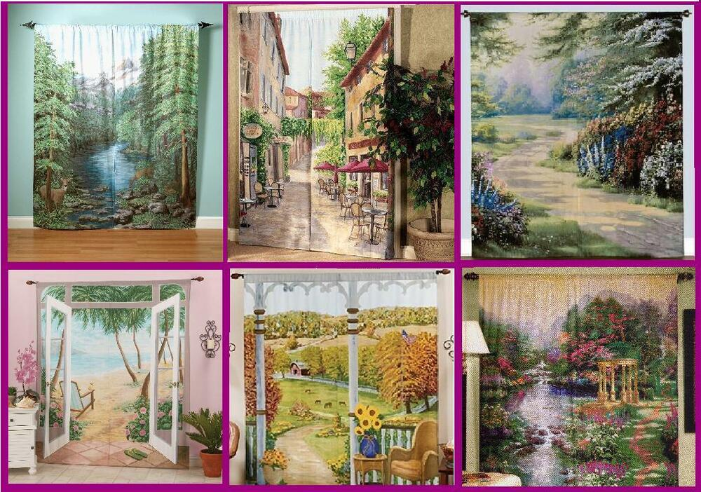 2 Panels Set Window Curtains Mural Nature Scenes Thomas