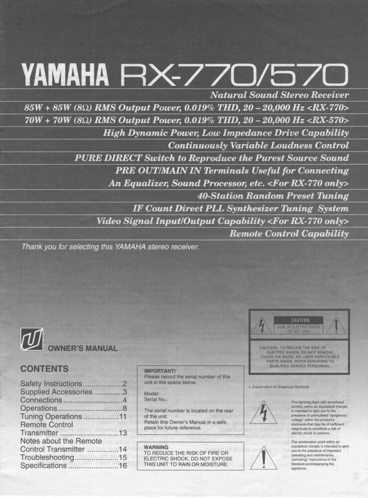yamaha rx 570 rx 770 receiver owners manual ebay rh ebay com yamaha receiver owner's manual yamaha av receiver instruction manual