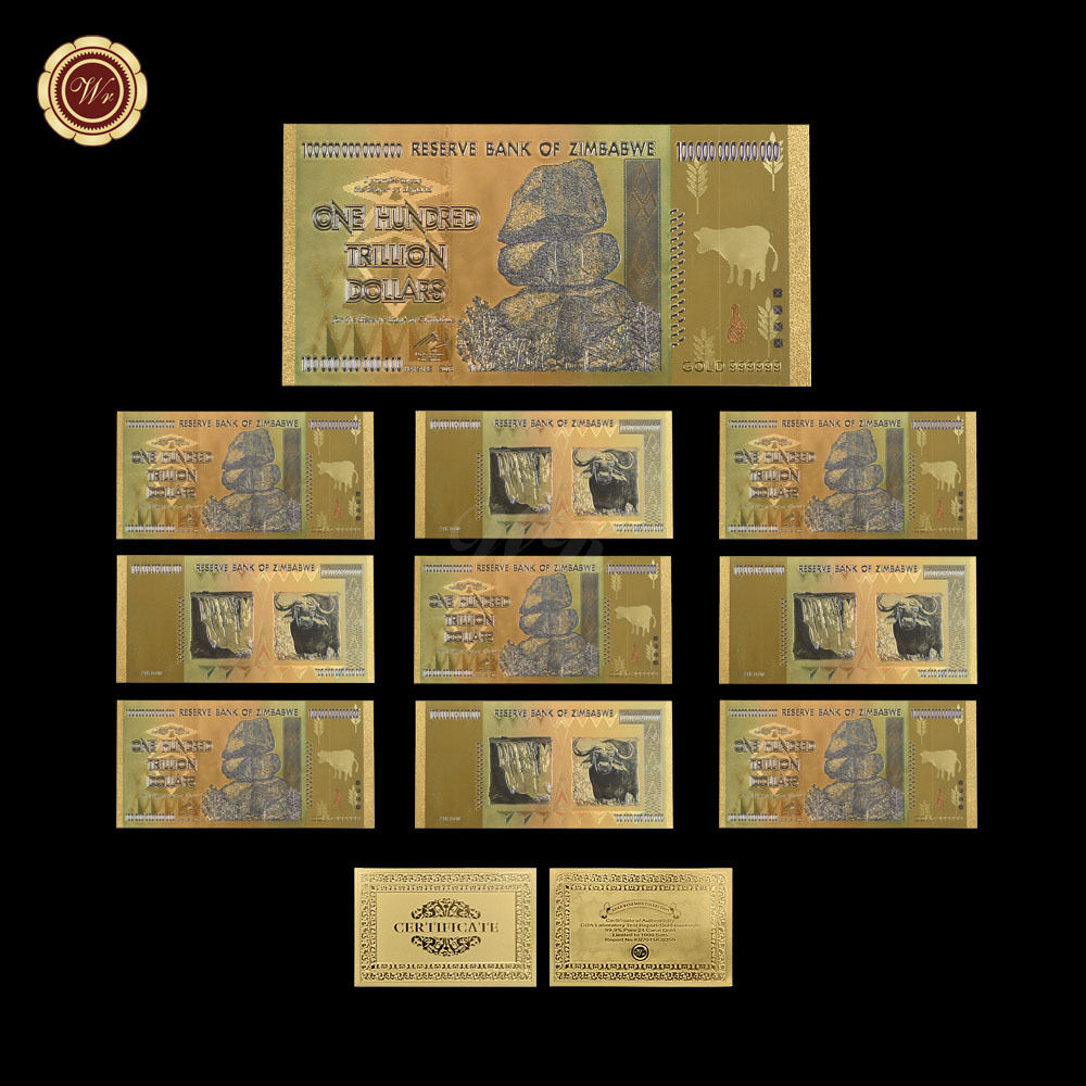 Details About Wr 10pcs Zimbabwe 100 Trillion Dollars Banknotes Color Gold Bill W Certificate