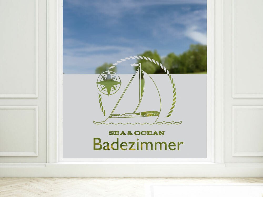 fensterdekor milchglasfolie sichtschutz folie badezimmer maritim badfenster ebay. Black Bedroom Furniture Sets. Home Design Ideas