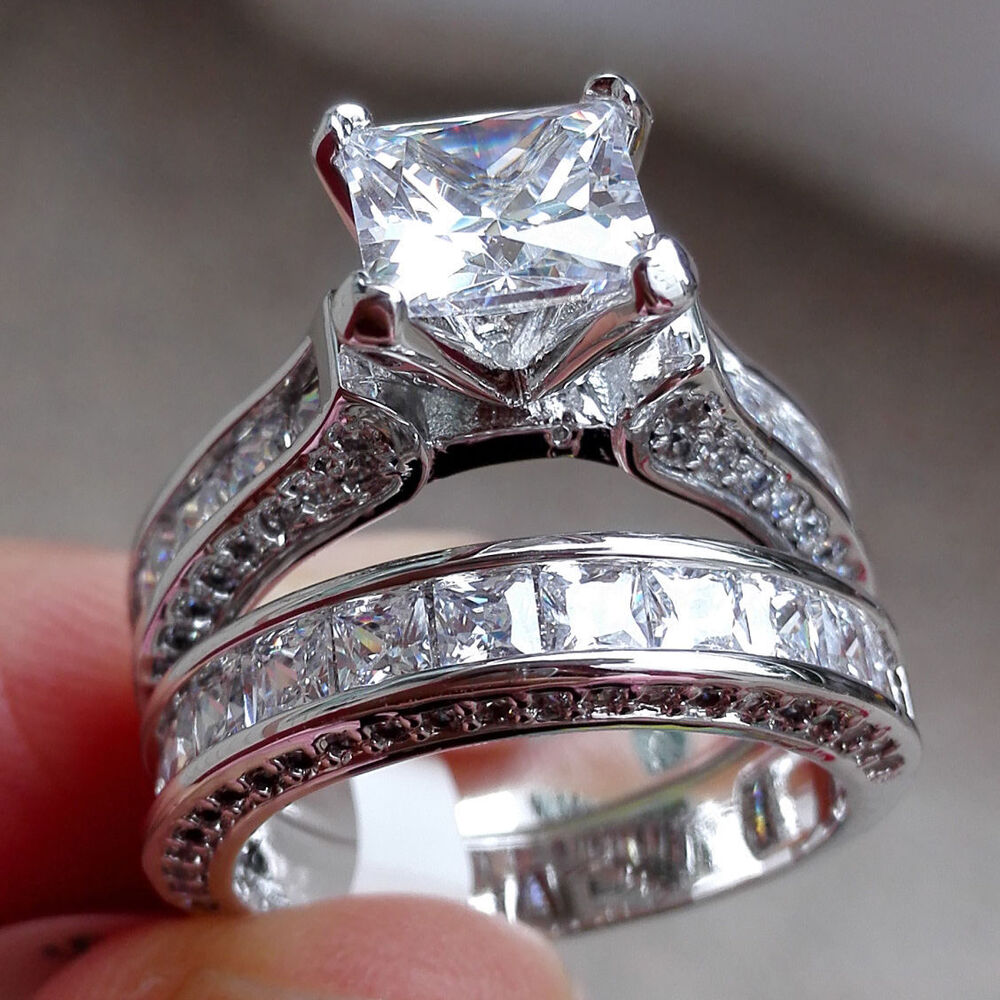 Elegant Women 925 Silver Princess Cut White Topaz Ring Set ... Jewellery Rings For Women