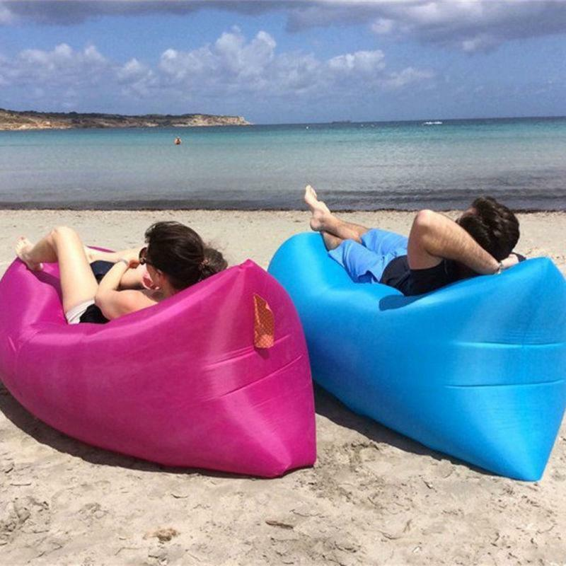 Solid and durable, it can bear 180kg most. Lightweight and portable,  convenient to take it to anywhere. It can be used as your sleeping bed and  sofa ... - Portable Sofa Chill Lazy Sofa Fast Inflatable Air Sleeping Bag