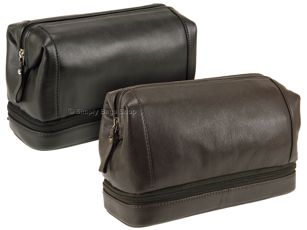 601f481b96 Details about Primehide Mens Bottom Zip Top Frame Leather Wash Toiletry Bag