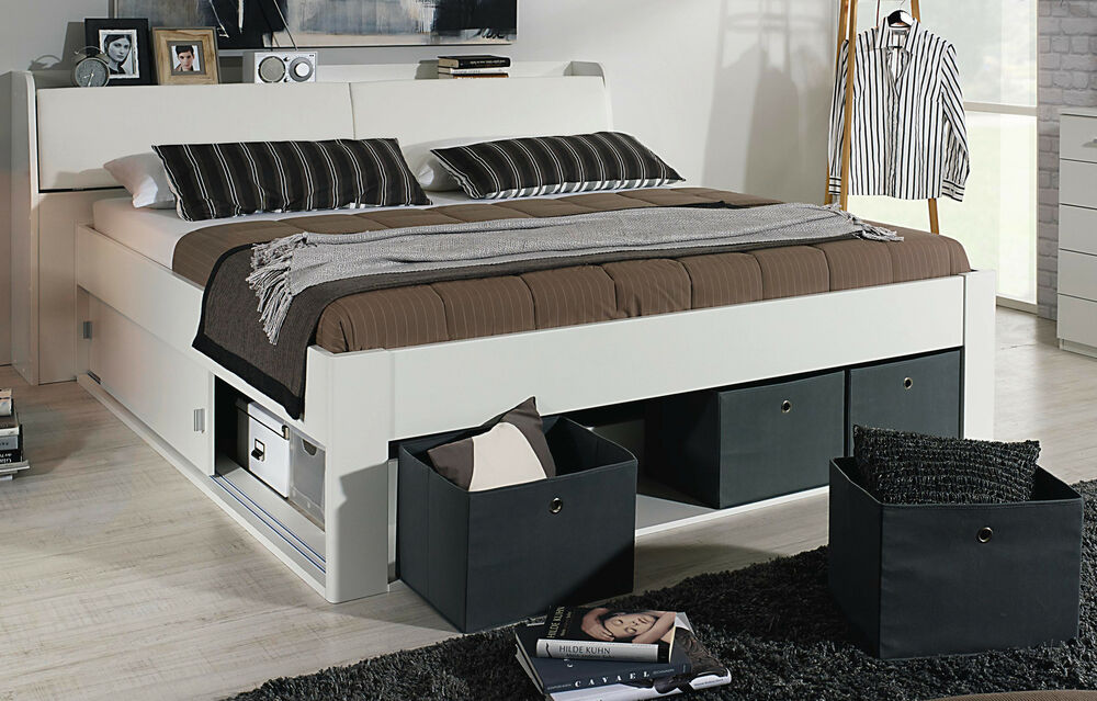 rauch bett mit stauraum kopfteil bettkasten 4 stoffboxen funktionsbett 2 gr en ebay. Black Bedroom Furniture Sets. Home Design Ideas
