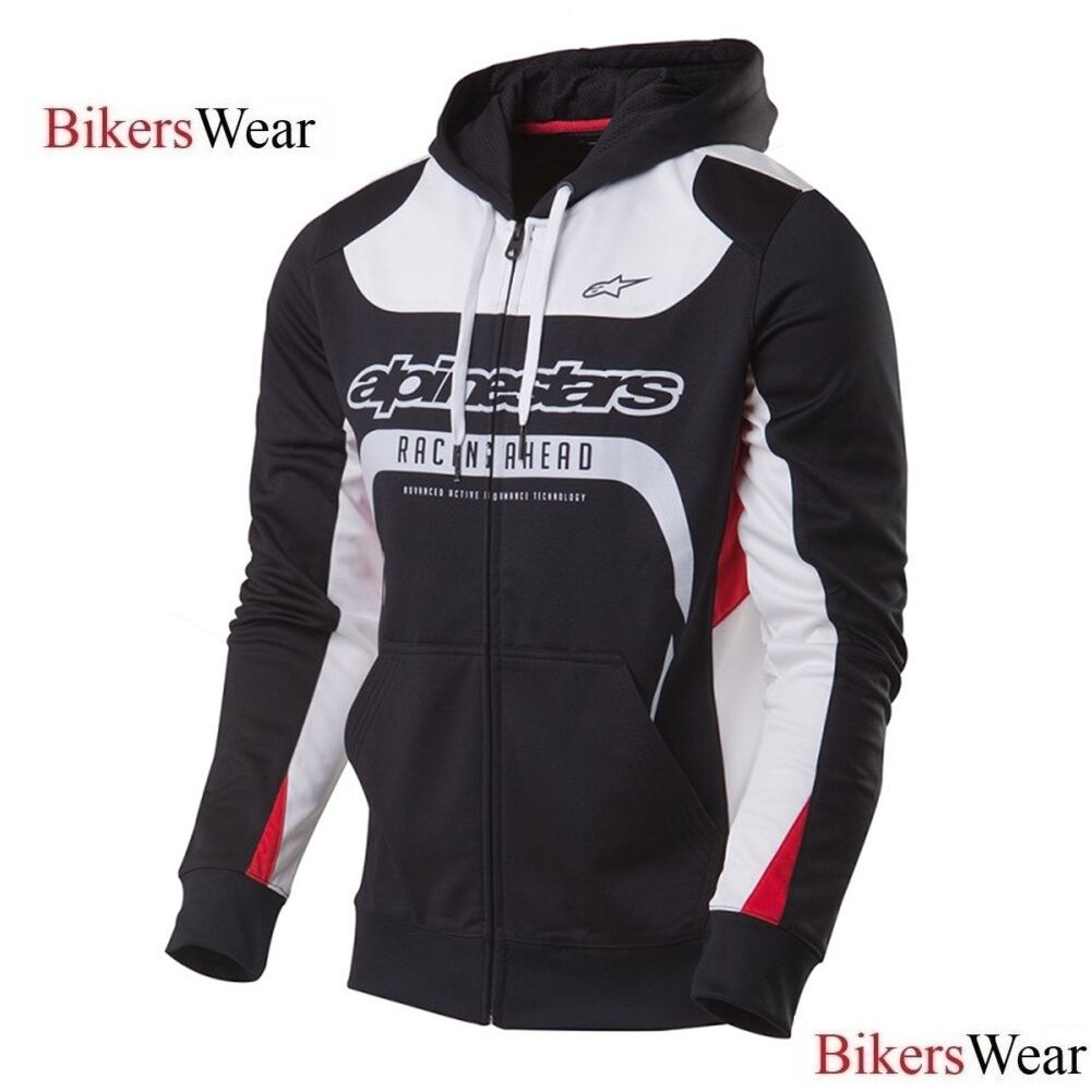Details about Alpinestars Session Zipped   Hooded Fleece with Hoody Hoodie  - Black White Red 21e422b1398