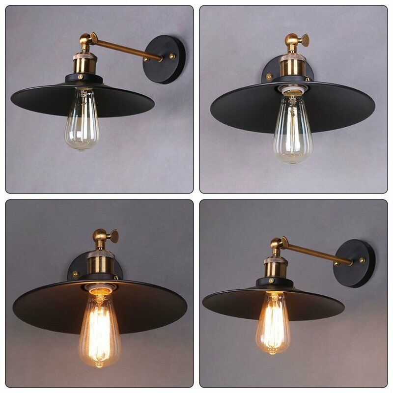 retro industrie wandlampe wandleuchte k che loft cafe lampe e27 eisenleuchte ebay. Black Bedroom Furniture Sets. Home Design Ideas