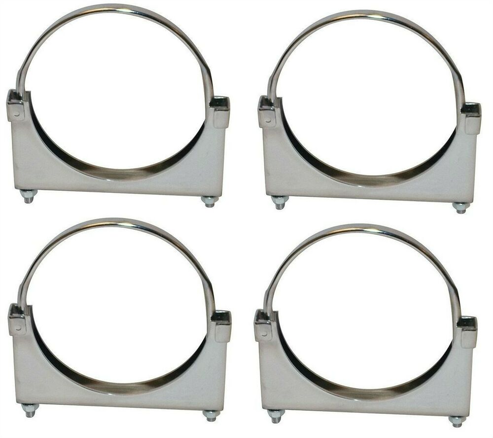 Four chrome plated quot muffler stack exhaust pipe clamp
