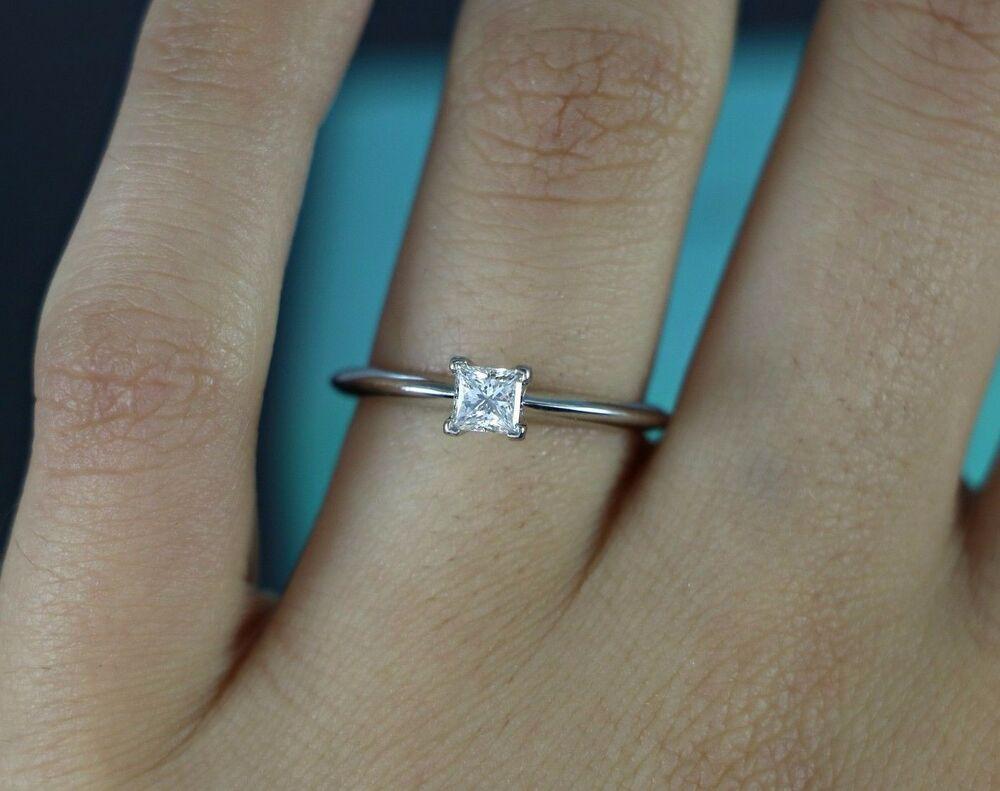 3k Tiffany Amp Co Platinum 0 31ct Princess Cut Solitaire
