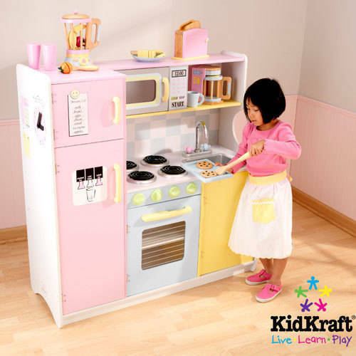 wooden play kitchen accessories kidkraft large pastel wooden play kitchen with 3 1650