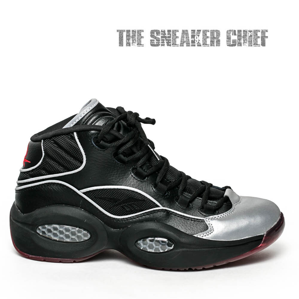 75b5db340c56 Details about REEBOK QUESTION MID A5 YOUTH BASKETBALL SHOES BLACK SILVER  RED BD4332