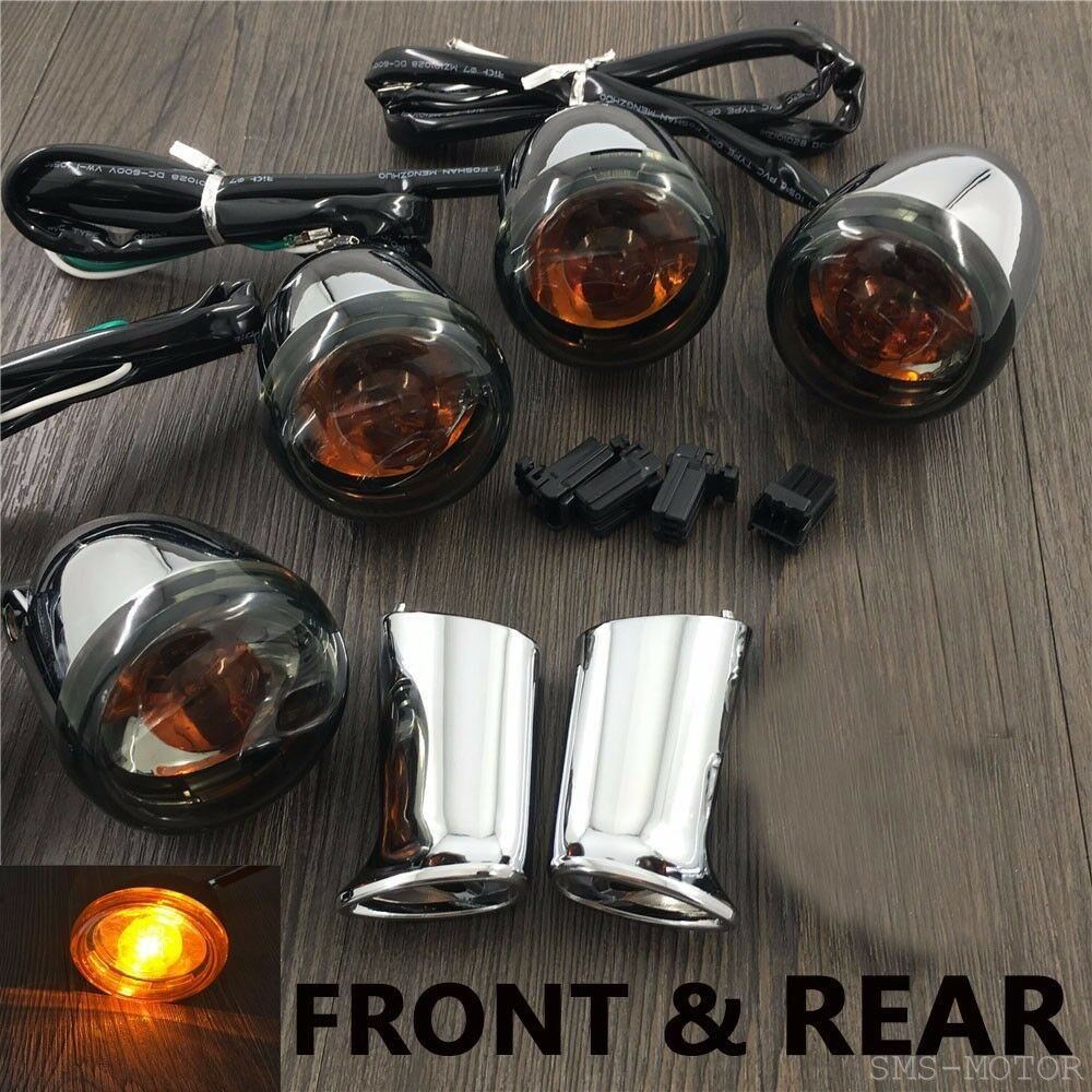 Chrome Front Rear Turn Signal Light Mount For Harley